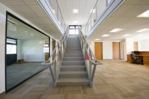 A stairway inside a beautiful modular office