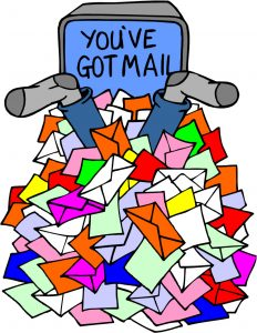 A cartoon with feet poking out of a pile of letters with a monitor that says 'You've got mail'